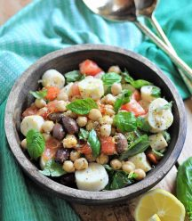 The easiest chickpea salad! Filled with protein, veggies, and a lemon dressing.