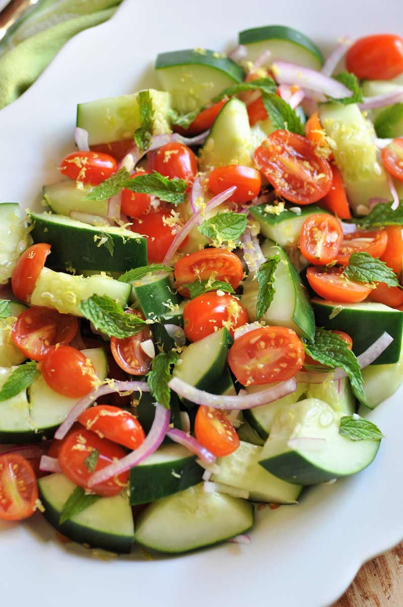 Cucumber, Tomato & Mint Salad with a refreshing Lemon Dressing! Eat it as a meal or as a side dish.