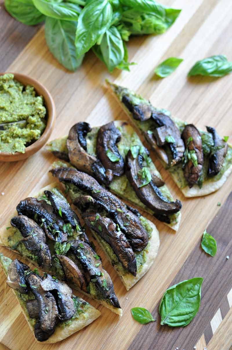 Savory and delicious homemade vegan pesto & Portobello mushroom flatbread.