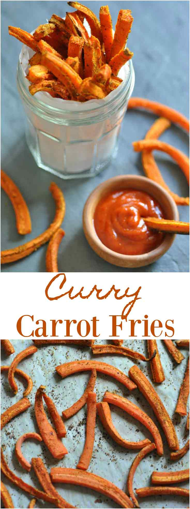 Delicious and healthy oven baked Curry Carrot Fries!