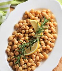 Homemade chickpeas infused with rosemary and lemon! A delicious meal or side dish.