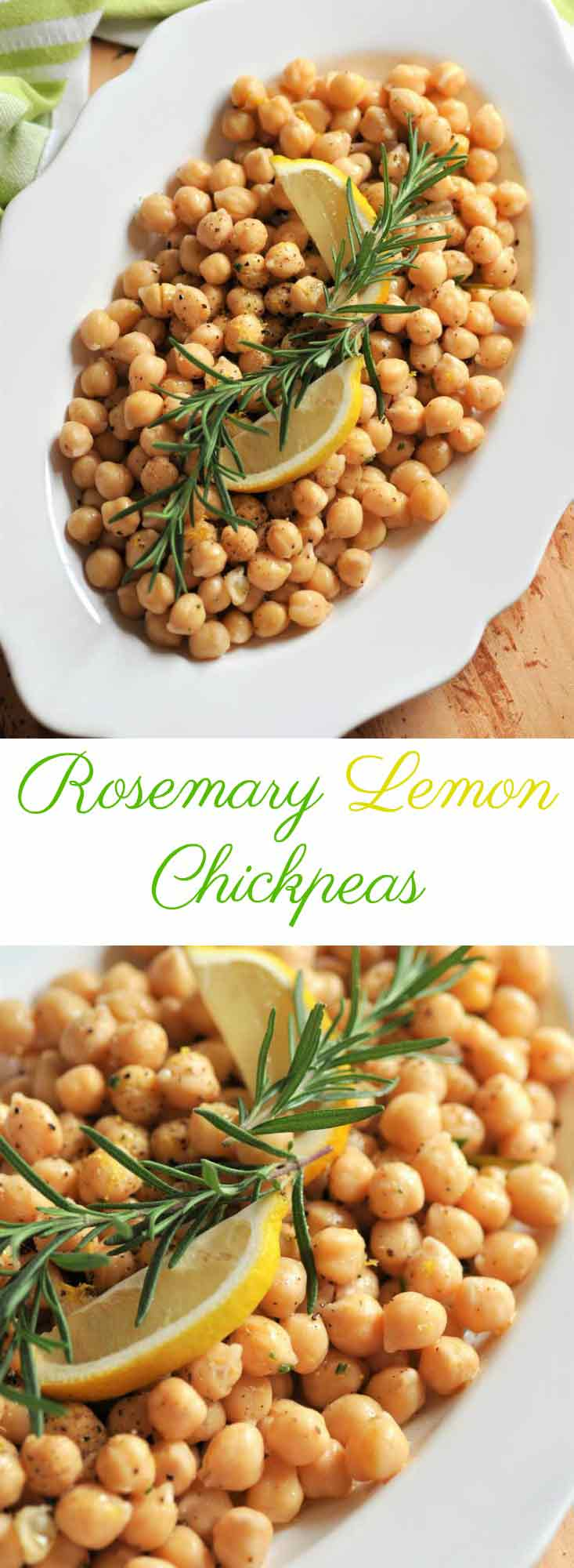 Rosemary and lemon chickpeas from scratch are so delicious! Eat them as a side or as a meal.