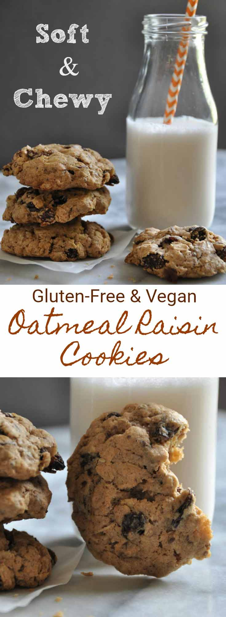 Soft and chewy classic oatmeal raisin cookies. Gluten-free, refined sugar-free, and vegan!