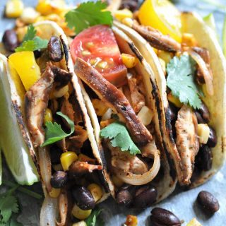 Street tacos made with black beans, corn, & shitake mushrooms. An easy appetizer or meal.