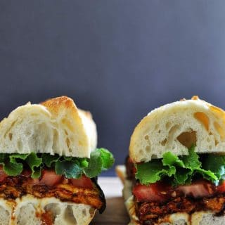 A twist on on BLT; vegan ELT. Smoky eggplant, lettuce & tomato sandwich!