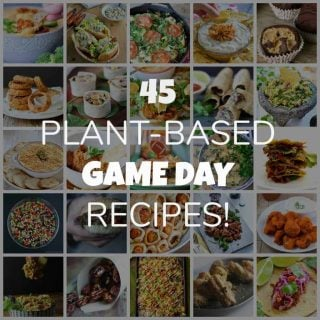45 vegan recipes for your next game day party! From appetizers to dessert.