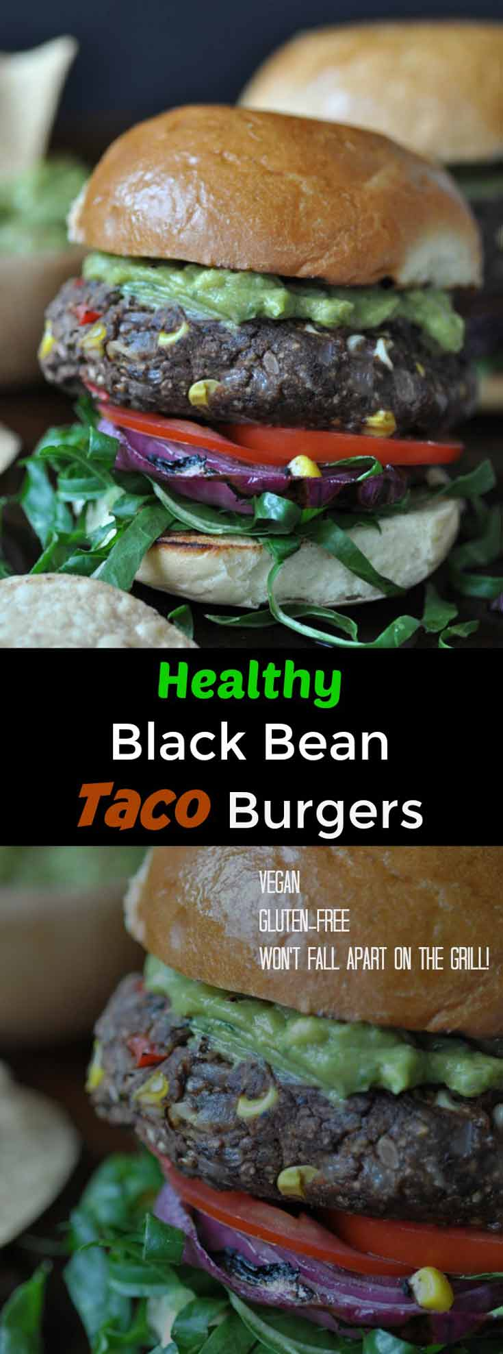 A healthy & easy vegan and gluten-free Black Bean Taco Burger!