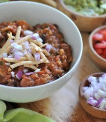Hearty veggie chili that will satisfy meat eaters. Vegan, easy to make, and delicious!