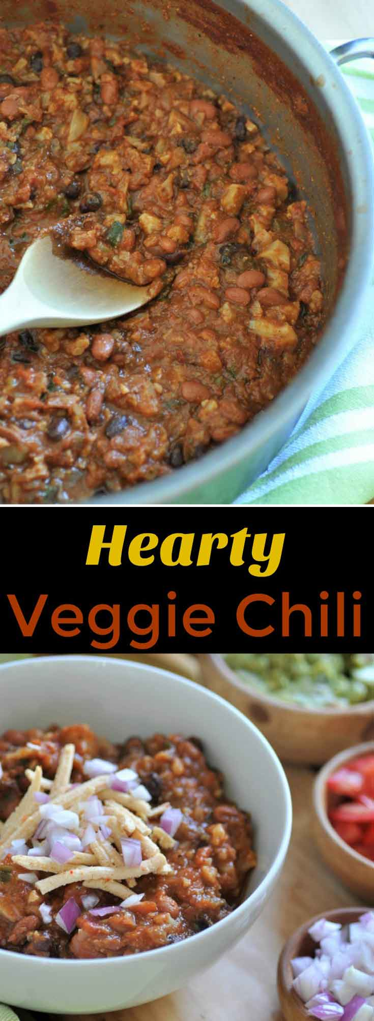 Hearty and meaty vegan chili that will satisfy meat eaters. The secret ingredient is cauliflower.