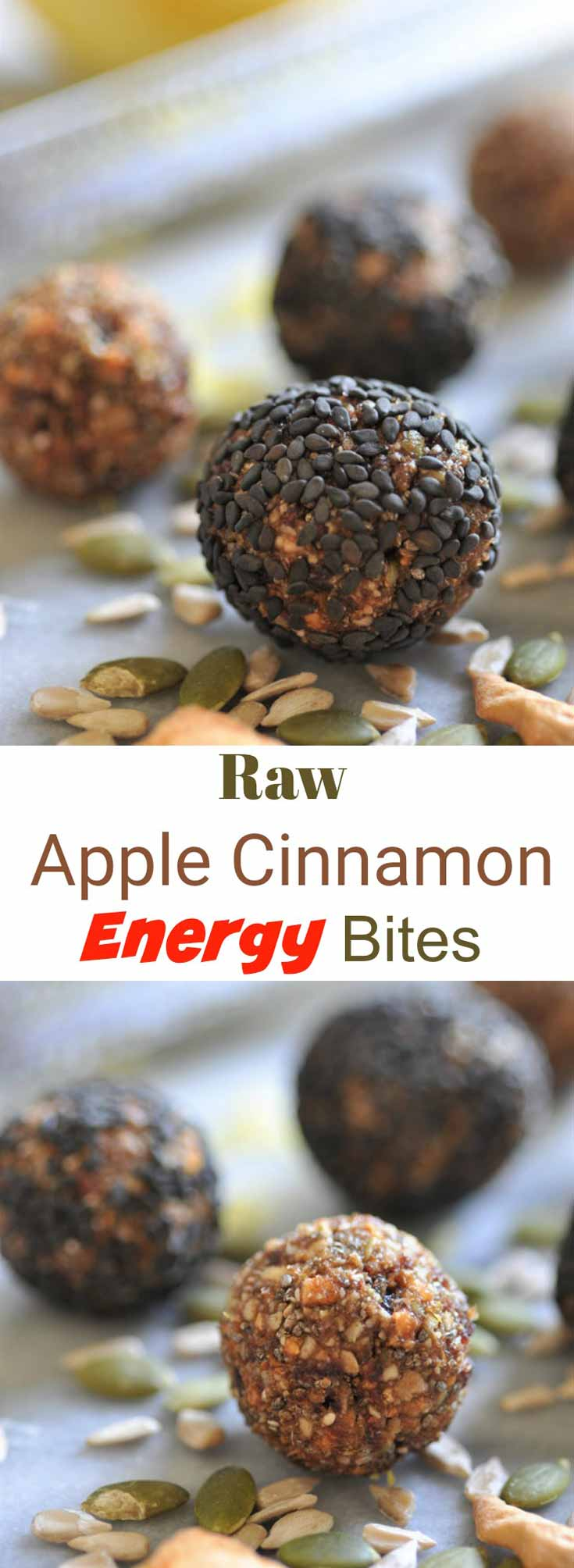 A Pinterest pin for apple cinnamon energy bites with two pictures of the bites.