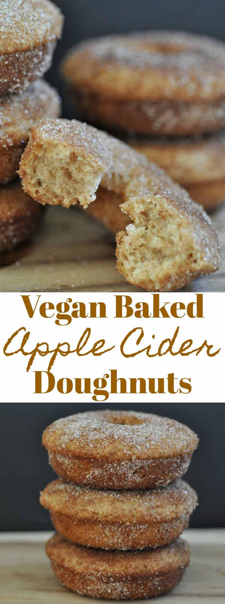Baked Vegan Apple Cider Doughnuts! Easy to make and great for a fall dessert or breakfast.