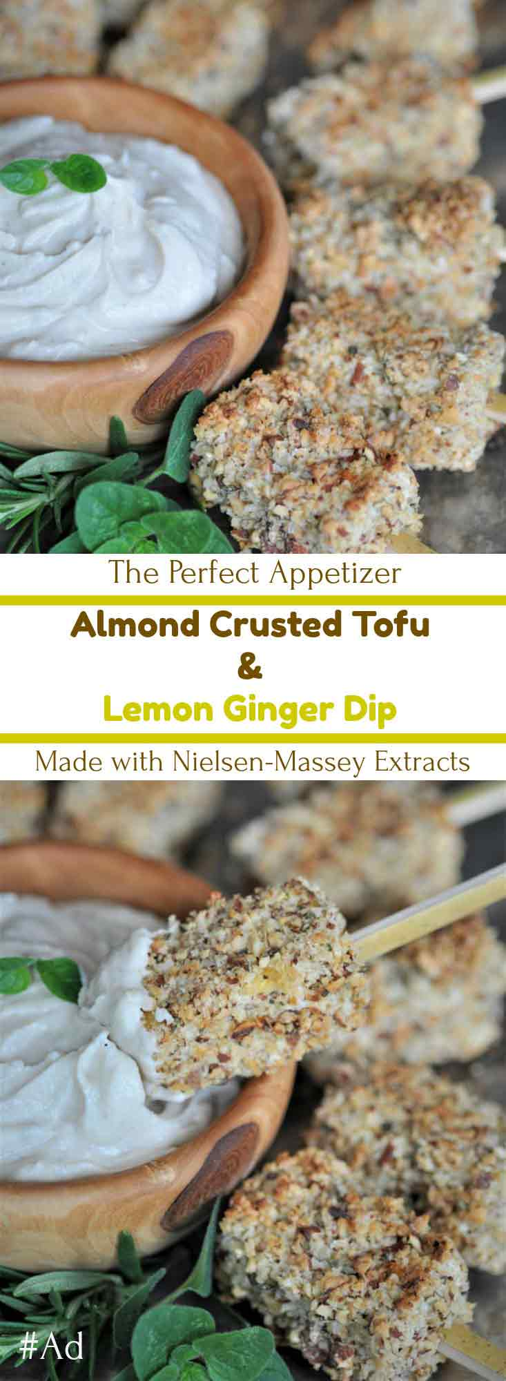 Crunchy and delicious almond crusted tofu bites with a creamy lemon ginger dip. Sponsored by Nielsen-Massey.
