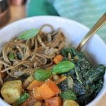 Kale & Sweet Potato Soba Noodle Soup