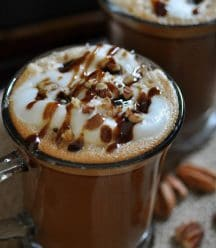 Homemade Vegan Maple Pecan Lattes! A Starbucks copycat coffee beverage.