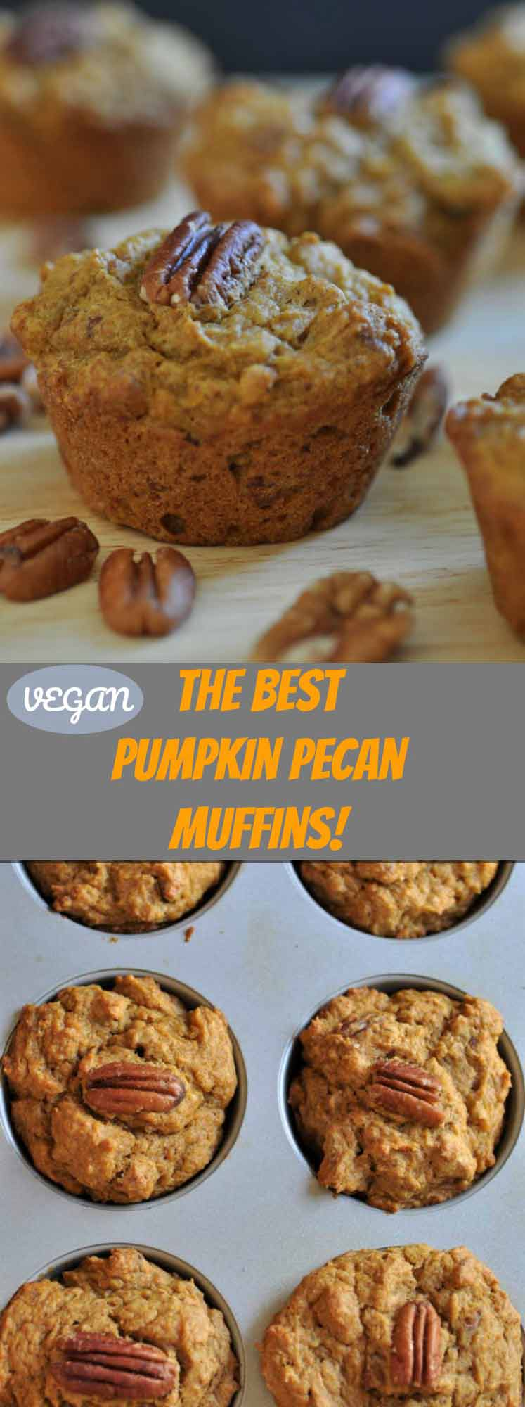 Delicious vegan pumpkin pecan muffins! Dairy-free and easy to make.