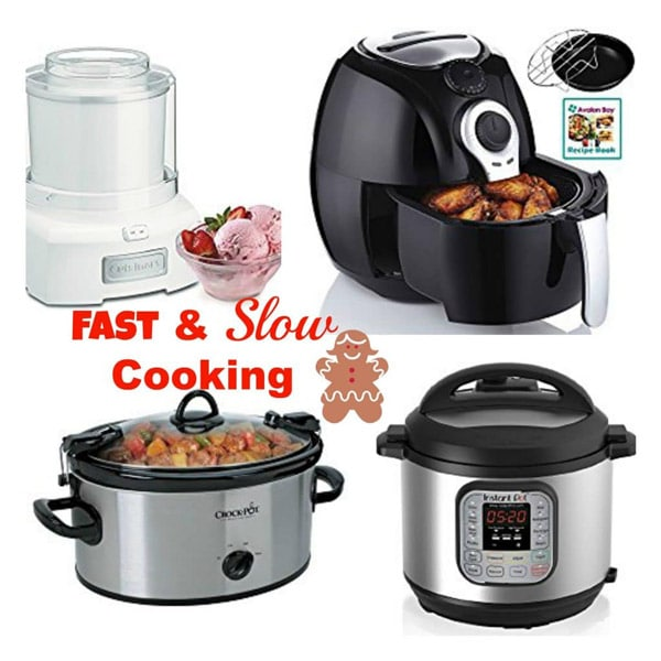 An ice cream maker, air fryer, slow cooker, and instant pot for fast and slow cooking
