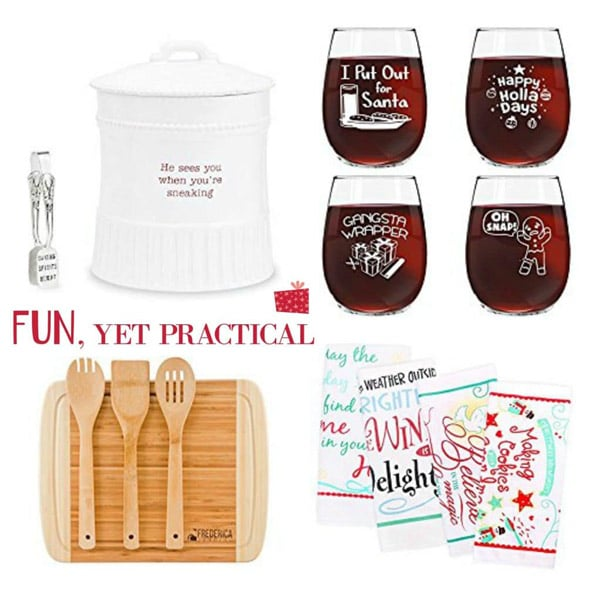 Fun, yet practical gifts, such as a cookie jar, fun wine glasses, a bamboo cutting board, and holiday towels.