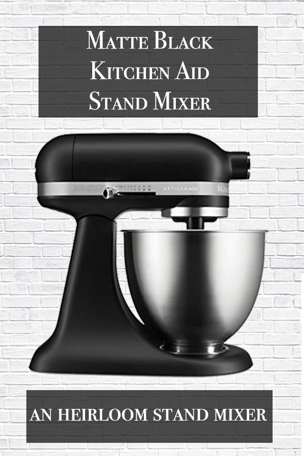 stand mixer title with matte black kitchen aid stand mixer