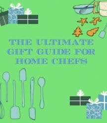 The Ultimate Gift Guide For Home Chefs graphic. Green with blue text and cartoon utensils and gift boxes.
