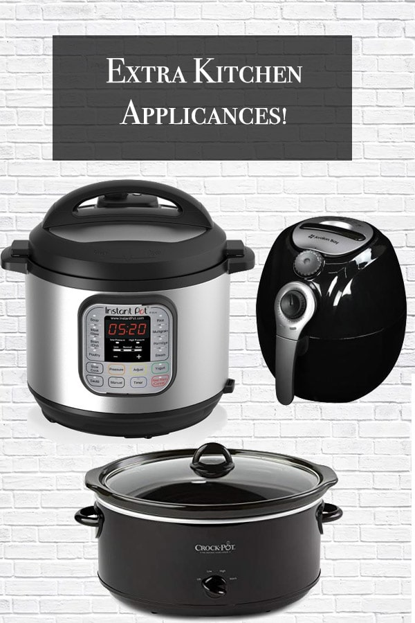 extra kitchen appliances title slow cooker, air fryer, and instant pot