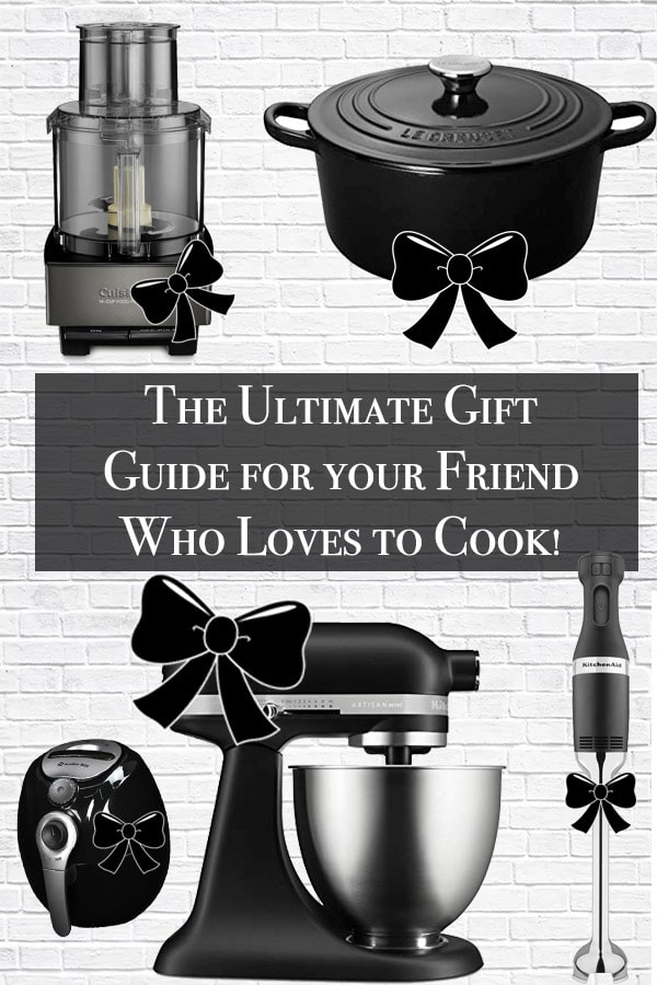 gift guide title with le creuset dutch oven, food processor, immersion blender, air fryer