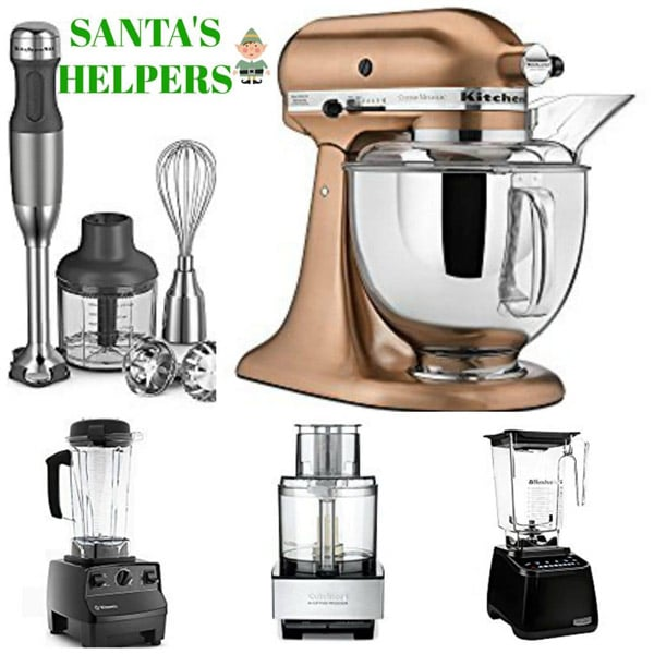 A picture of Kitchen Essentials, with an immersion blender, copper mixer, Vitamix, Blendtec, and food processor.