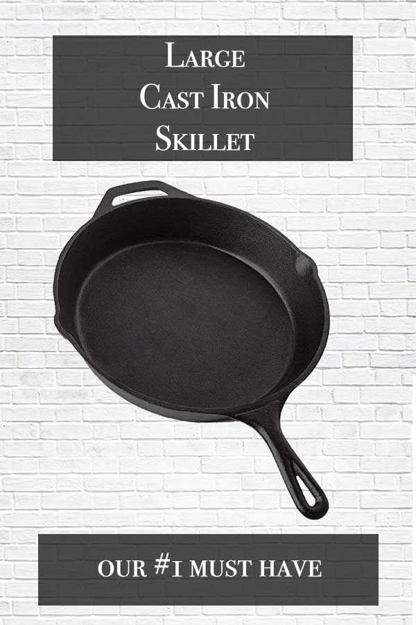 large cast iron skillet in black