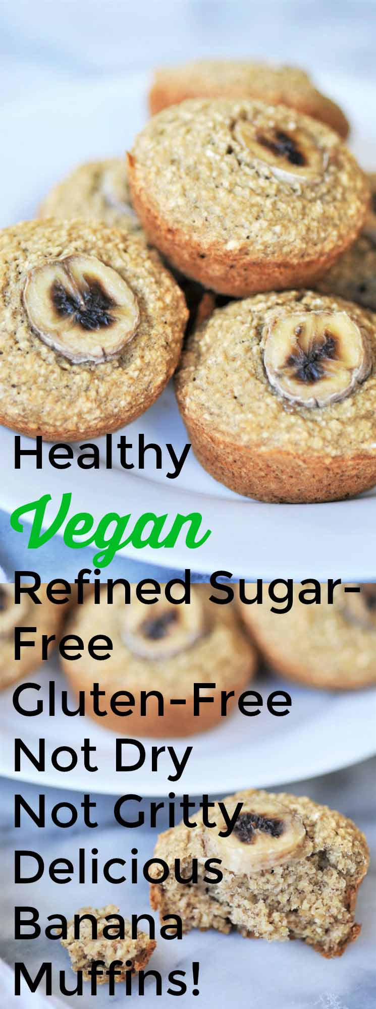 Healthy vegan & gluten-free banana muffins collage for Pinterest.