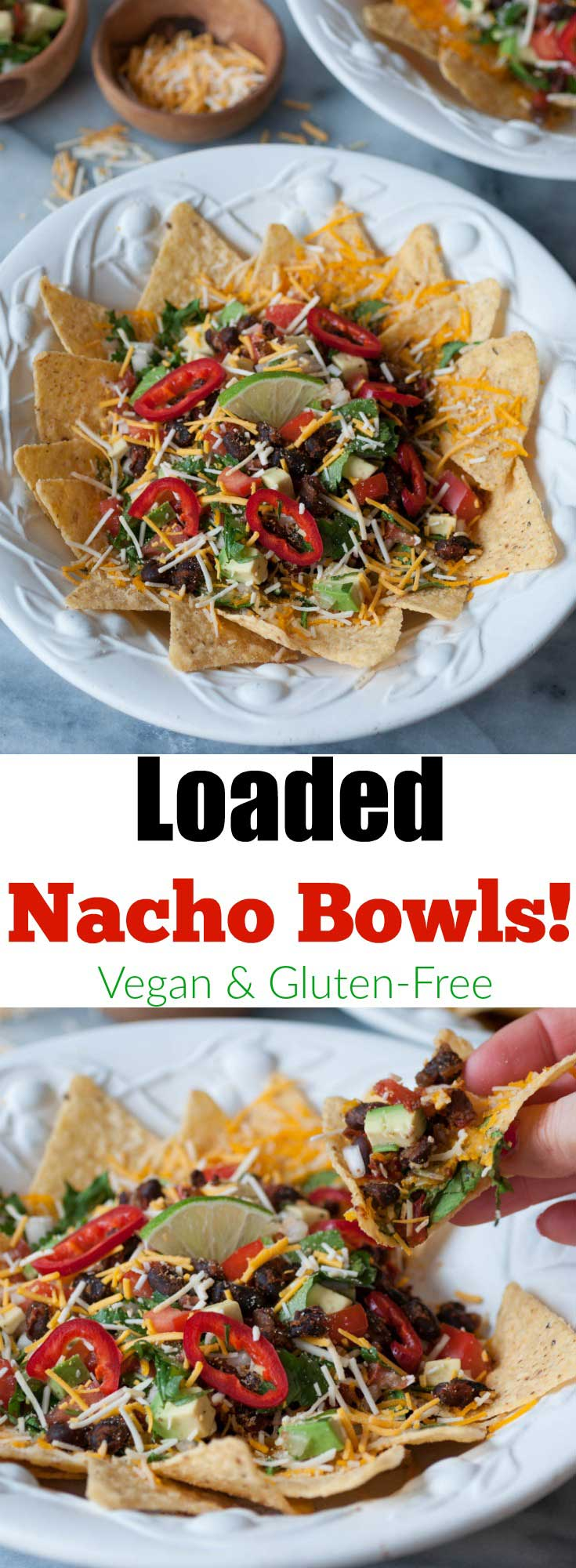 Vegan Nacho Bowls, loaded with spicy black beans, veggie salsa, avocado, vegan cheddar Jack, and a whole lot of yum! Perfect for a Taco Tuesday dinner or an appetizer.