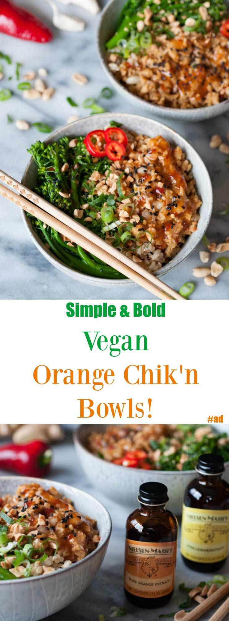 Spicy Vegan Orange Chik'n Bowls! A homemade orange sauce made with Nielsen-Massey extracts and seitan for the chik'n. An easy and delicious dinner that's refined sugar-free