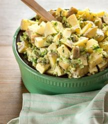 Potato Salad in green bowl for cookbook