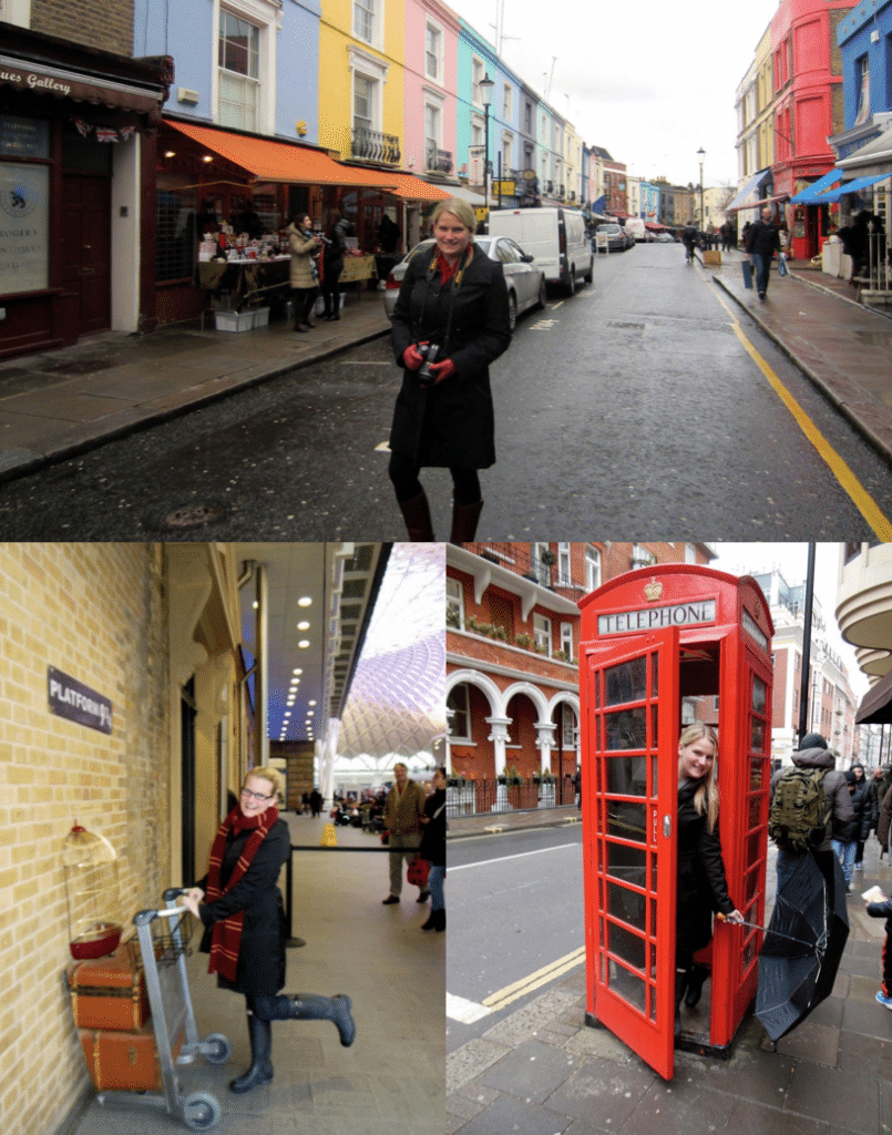 Pictures of Alex in London in a phone booth, at platform 9 3/4, and at portobello market