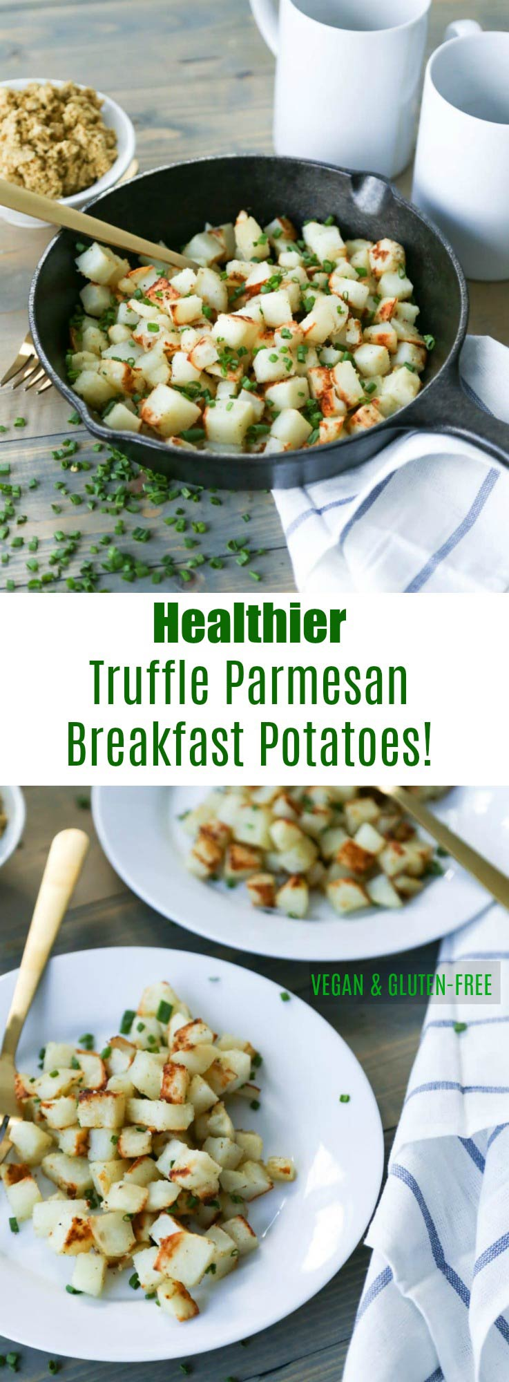 Healthier Truffle Parmesan Roasted Breakfast Potatoes! Minimal oil and delicious flavor. Vegan and Gluten-Free!