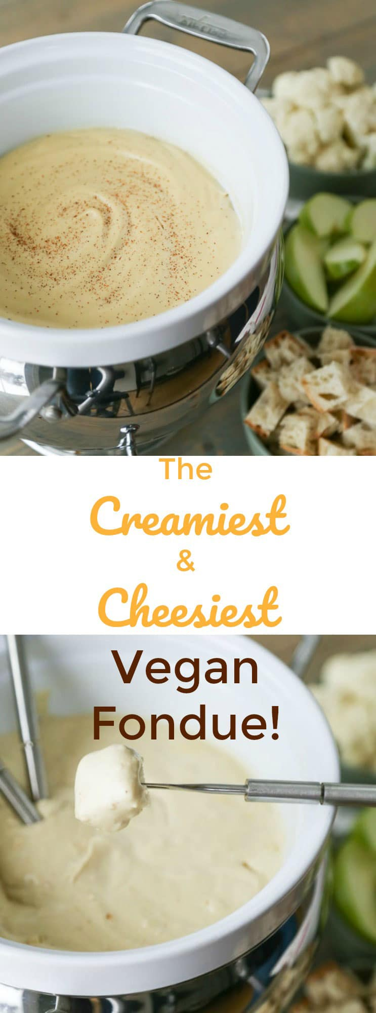 Easy and so creamy and cheesy! Our vegan fondue is the perfect dipping sauce. Perfect for a romantic dinner or a party!
