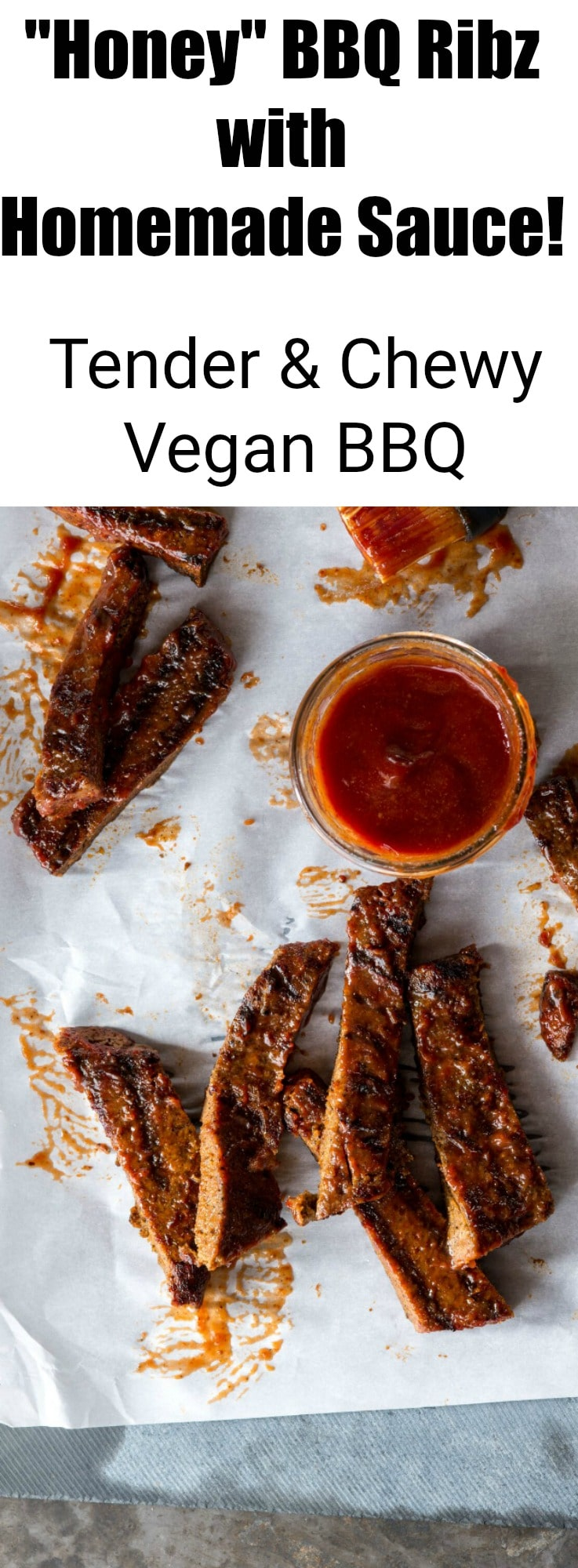 """Honey"" BBQ Ribz from Great Vegan BBQ Without A Grill Cookbook! Tender vegan ribs with a homemade BBQ sauce!"