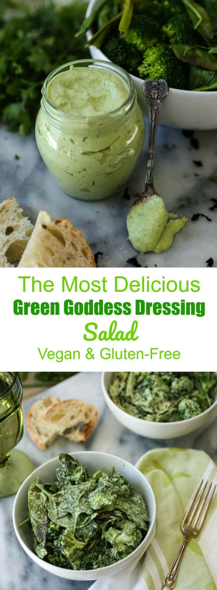 Pan roasted green vegetables with a bright and fresh vegan Green Goddess Dressing. A quick and easy meal!