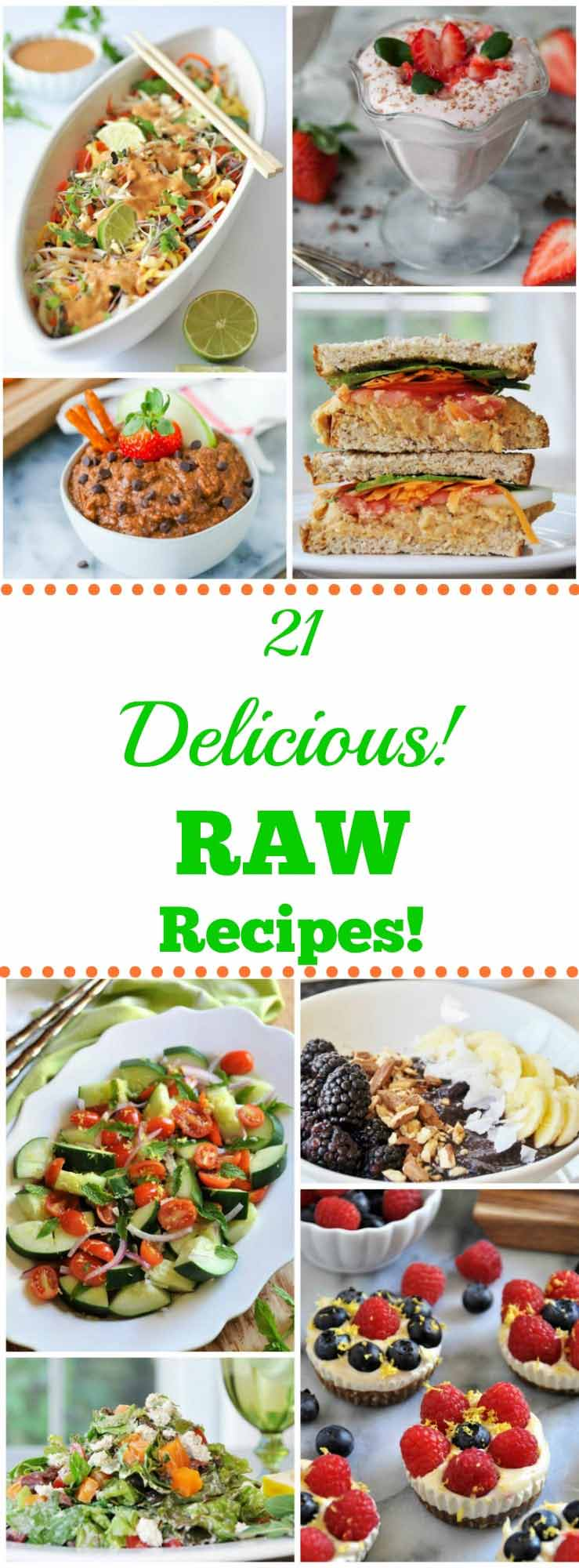 21 colorful and delicious whole food plant-based raw recipes that will make summer meals easy. #raw #vegan
