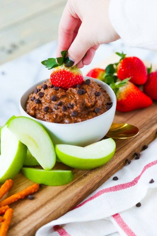 Brownie batter hummus with hand dipping