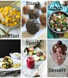 A picture collage of a daily vegan meal plan, mango overnight oats, energy balls, chickpea salad, black bean and quinoa burritos, beet juice and cherry chocolate nice cream