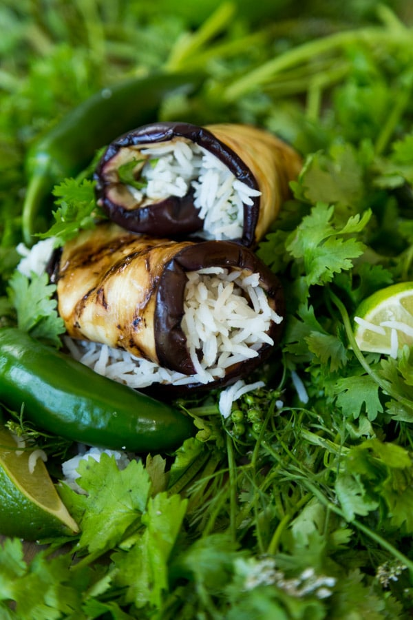 eggplant rice roll up on a bed of greens with jalapeno