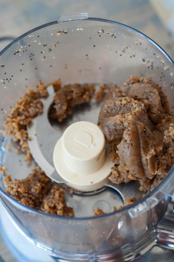 Chocolate energy ball dough in a food processor