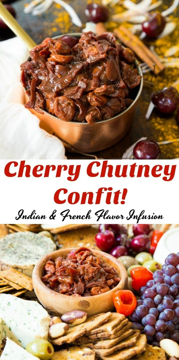 Our Cherry Chutney Confit is a fusion of Indian Spices and French flavors. This savory and sweet spread is perfect on vegan cheese, ribz, or anything that requires a burst of flavor. #vegan #chutney #cherry