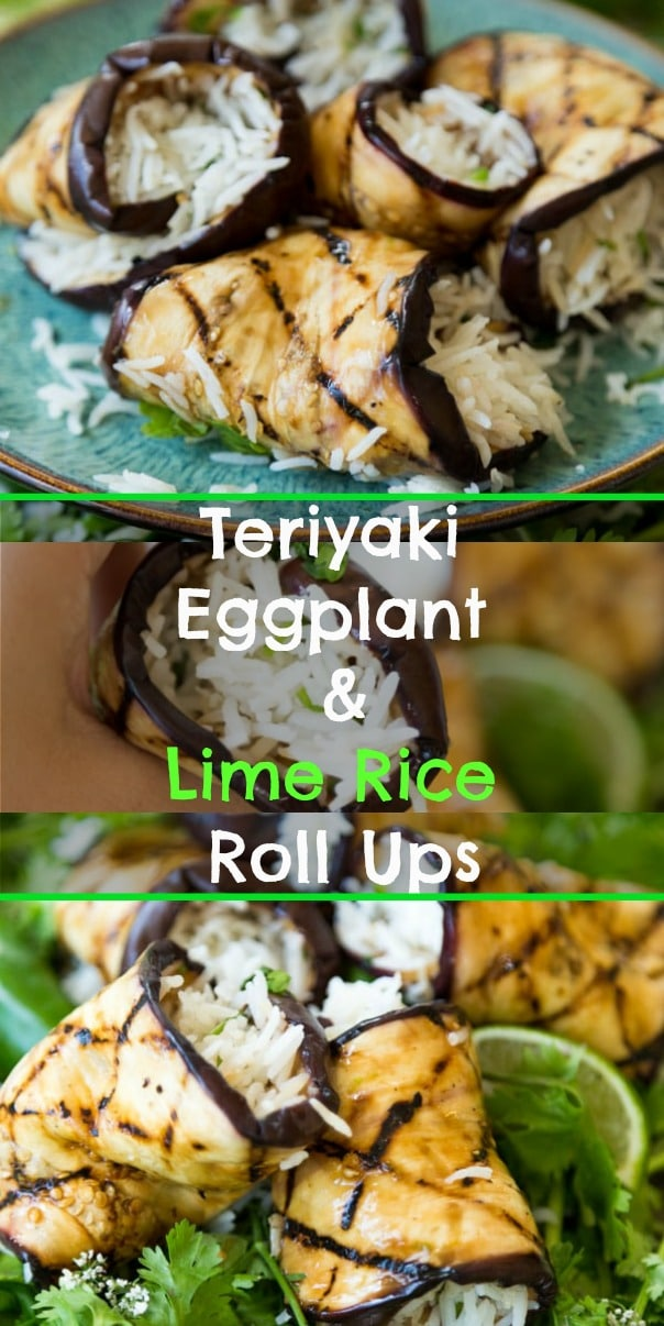 These healthy Teriyaki Eggplant and Cilantro Lime Rice Roll Ups are so delicious and easy to make. Perfect for a light summer dinner or appetizers. #vegan #eggplant #rice