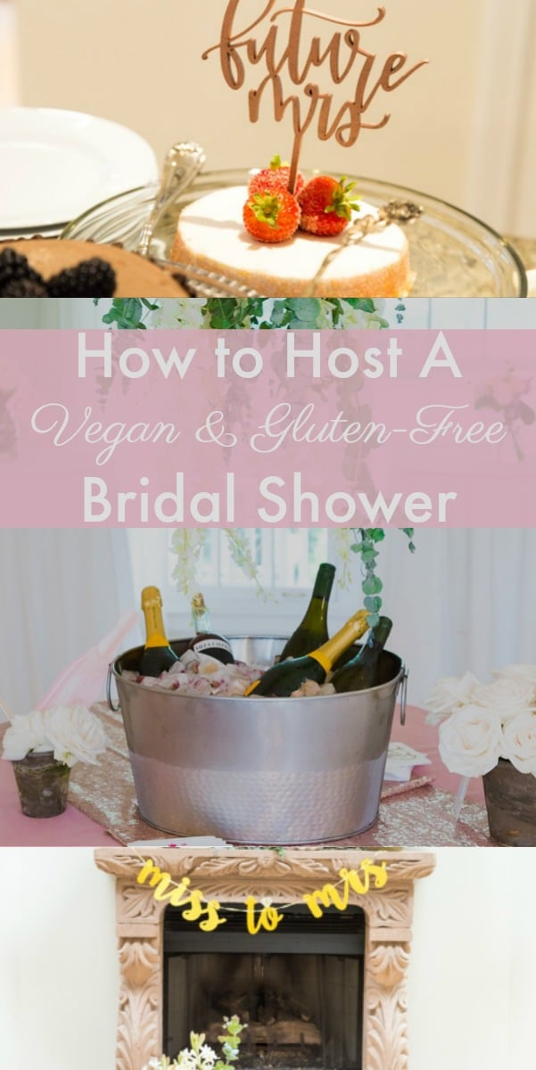 You can create a beautiful and delicious bridal shower party with completely vegan and gluten-free food. It's all about the details! #vegan #bridalshower #party #gluten-free