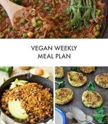 Vegan Weekly Meal Plan with a picture of Spicy Stew, taco filling, and a shopping list
