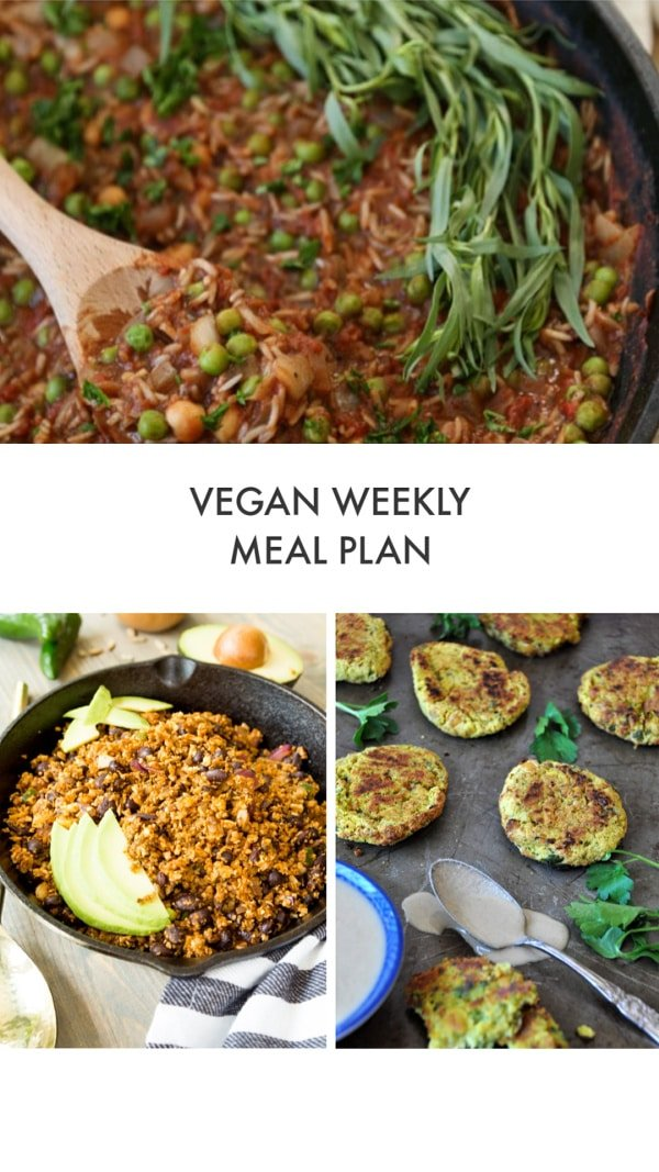 Vegan Weekly Meal Plan with a picture of Spicy Stew, taco filling, and falafel