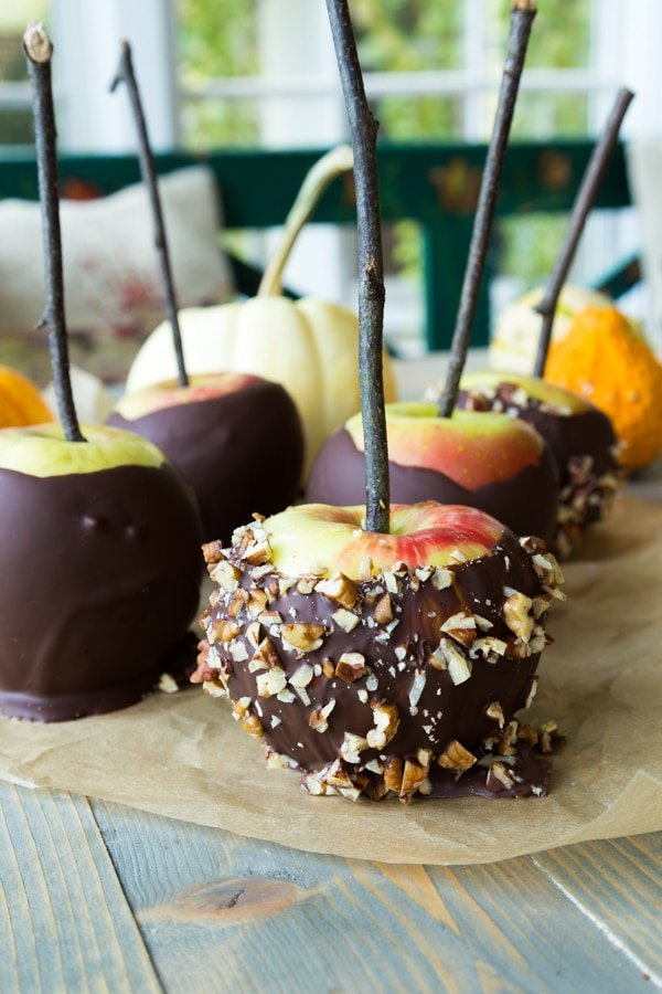 Chocolate covered apples on a piece of parchment paper on a wood table. Some of the apples are rolled in chopped nuts and they all have twigs inserted in the centers.