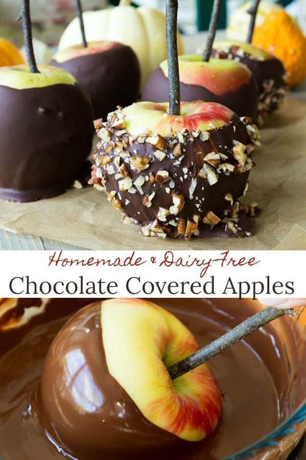 Easy homemade chocolate covered apples that are vegan and gluten-free! Make in less than 20 minutes! #dairy-free #vegan #appledessert