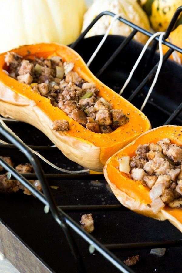 Stuffed butternut squash filled with apple sausage stuffing