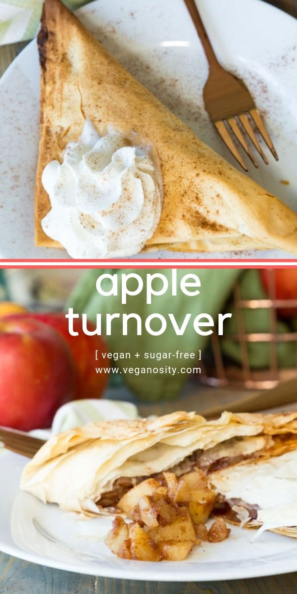 Homemade vegan apple turnovers! Made with real apples and spices, refined sugar-free! #vegan #dessert #apples
